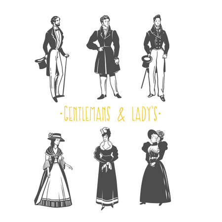 Illustration de style vintage dame et gentleman. Objets vectoriels noir et blanc