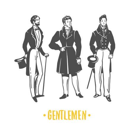 Gentlemans. Black and white vector illustration.
