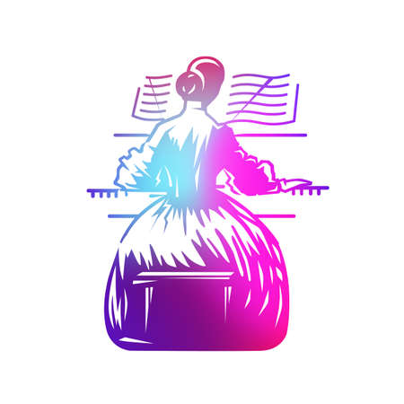 Girl playing piano - background for a musical concert. Vector graphic illustration.