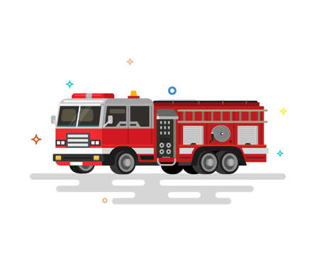 Vector illustration of flat fire engine. Colorful illustrations. Vectores