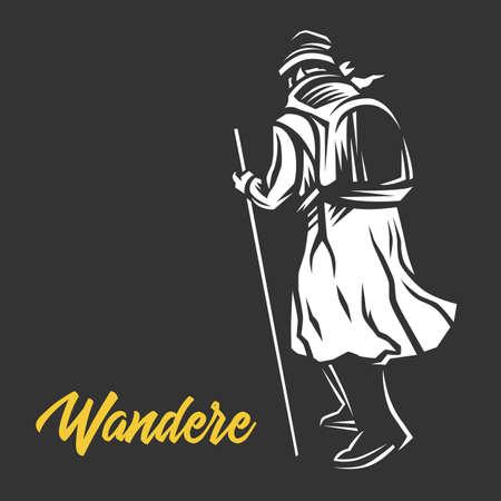 Wandere, Wanderer,  vector illustration.Black and white illustration.