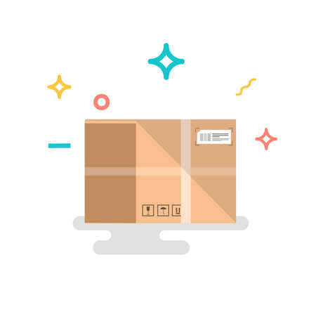 Cardboard box, flat style vector illustration. Colorful illustrations.