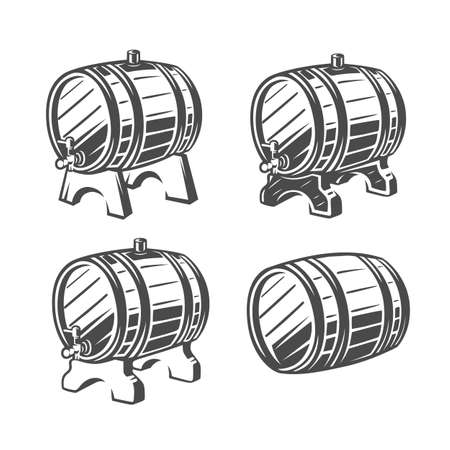 Barrel. Black and white vector illustration. Vettoriali