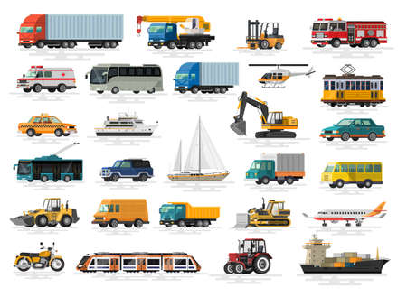 Urban, city cars and vehicles transport vector flat icons set. Colorful illustrations.