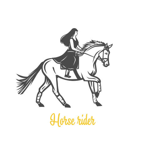 Horse rider. Black and white vector objects.