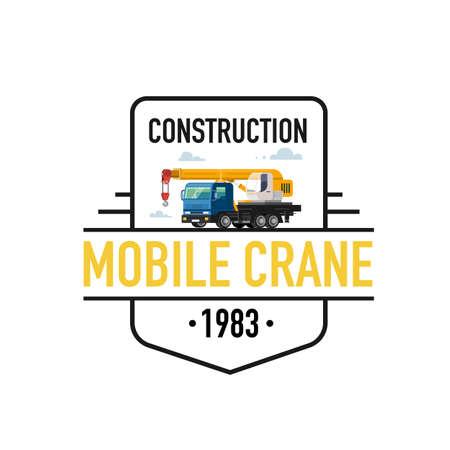 Vector illustration of mobile crane . Colorful illustrations.