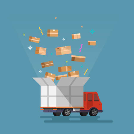 Unloading or loading trucks. Shipping cargo delivery, export or import, transportation and logistic, flat vector illustration  イラスト・ベクター素材