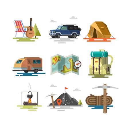 Flat design. Colorful illustrations