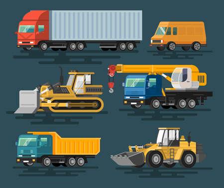 Building machines set. Flat design. Colorful illustrations.  イラスト・ベクター素材