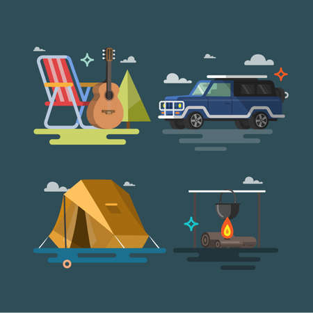 Camping. Set of camping equipment symbols and icons. Flat design. Colorful illustrations Vectores