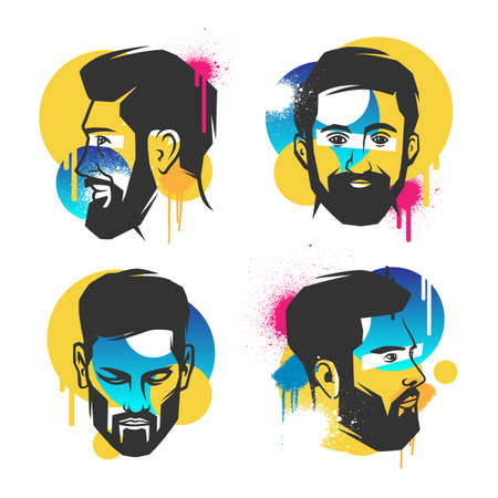 Trendy style mens heads. Vector illustration. 向量圖像