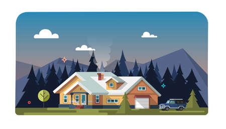 Chalet, wooden house, eco house, house on the nature. Vector flat illustration.