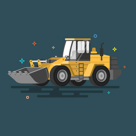 Dump truck vector illustration. Flat design. Colorful illustrations.