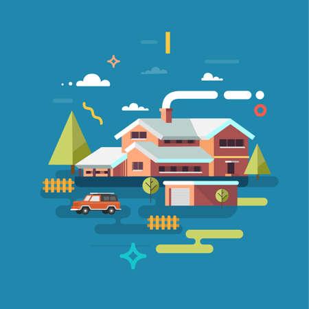 House facade. Traditional cottage, flat design. Flat vector illustration.