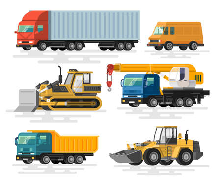 Building machines set. Flat design. Colorful illustrations. Illusztráció