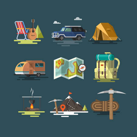Camping. Set of camping equipment symbols and icons. Flat design. Colorful illustrations Illustration