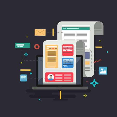 Content Marketing. Blogging and SMM concept in flat design. Vector illustration. Vetores