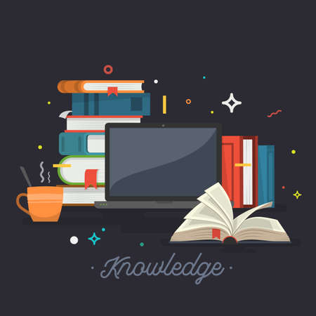 Knowledge. Online education. Vector illustration.