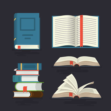 Set of book icons in flat design style. Vector illustration.