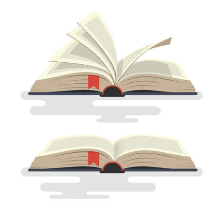 Covered opened book with pages. Vector illustration.