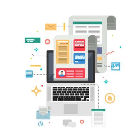 Content Marketing. Blogging and SMM concept in flat design. Vector illustration. Ilustrace