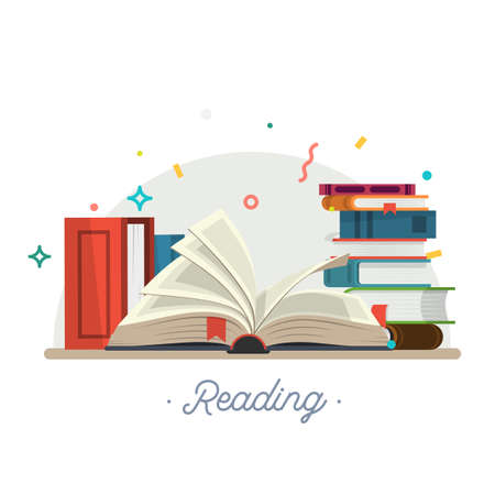 Reading. Vector illustration, stack of books in a flat style. Vector illustration.