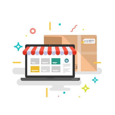 Online shop. Online delivery service. Vector illustration. Ilustrace