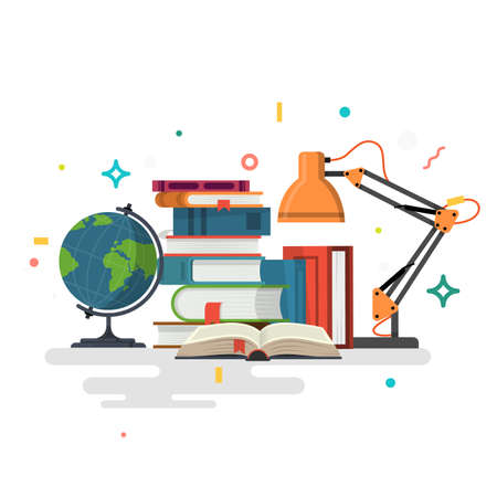 Reading. Education. Flat design vector illustration.