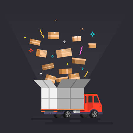 Delivery truck with box. Vector illustration.