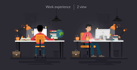 Young happy man sitting at the desk and working at the computer, looking at screen, rear and front view, comfortable workspace, effective employee, organized manager. Vector illustration.