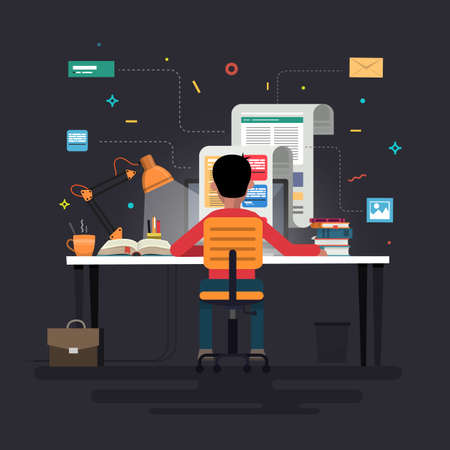 Blogger and blogging. Creation of high-quality content, writing articles for blog, social networks, communication, web page, infographics elements. Vector illustration.