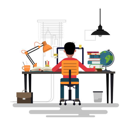 Man working with pc at his work desk. Vector illustration. Ilustrace