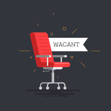 Red chair in the office icon with a vacant tag. Vector illustration.