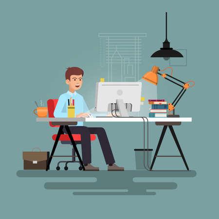 Businessman sitting at desk working on pc. Vector illustration.