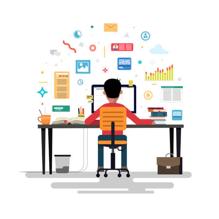 Businessman marketer working at the computer in the office, vector flat illustration of programmer, business analyst, designer, manager. Vector illustration. Ilustrace