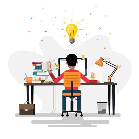 Young Man Having A Good Idea. Business Concept Illustration. Ilustrace