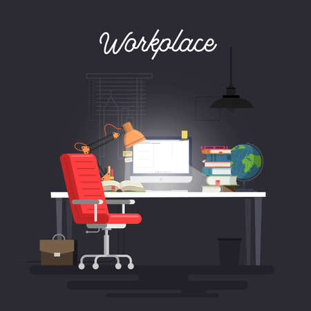 Flat design interior concept of work place with computer. Vector illustration.