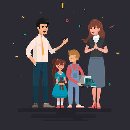 Happy family. Father, mother and children. Vector illustration of a cartoon style.