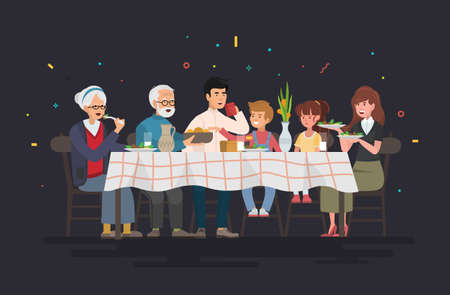 Family sitting at dining table. People eat festive food, holiday talking and family dinner reunion. Vector illustration.