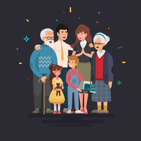 Happy family. Father, mother, grandfather, grandmother and children. Vector illustration in a flat style. Ilustrace