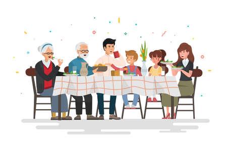 Familie zit aan de eettafel. Mensen eten feestelijk eten, vakantie praten en familiediner reünie. Vector illustratie. Vector Illustratie