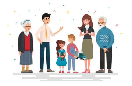 Big family portrait.  Mother and father with babies, children and grandparents.