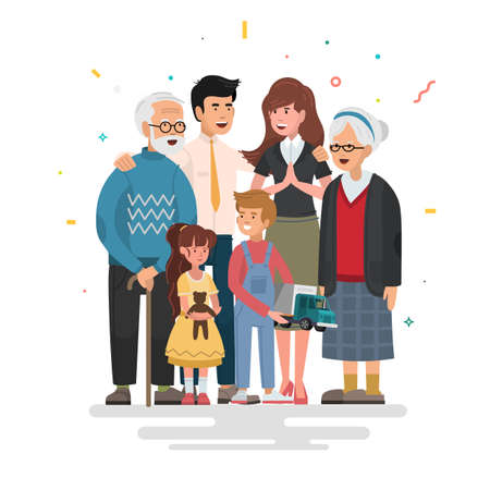 Happy family. Father, mother, grandfather, grandmother and children. Vector illustration in a flat style. Illustration