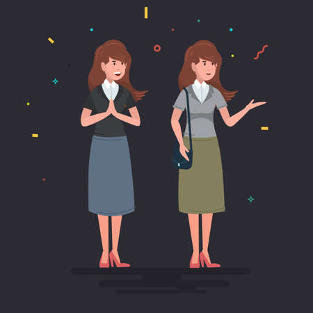 Classic image of a woman. Working Mom. Business woman. Vector illustration of a cartoon style. Ilustrace