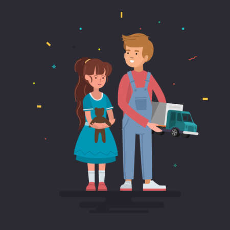 Children with gifts presents vector characters illustration. Daughter and son hold toys. Family casual parenting concept.