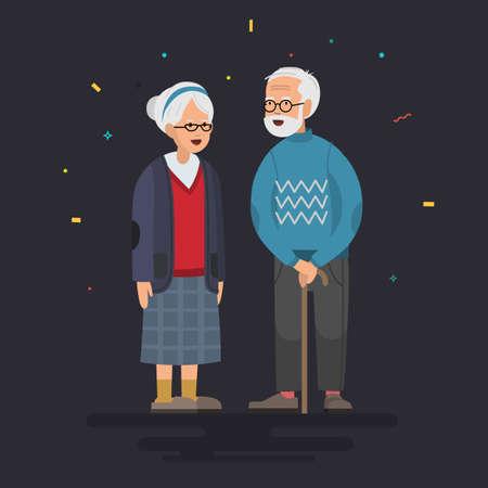 Couple of elderly people. Grandpa near grandmother. Vector illustration in a flat style. Ilustrace