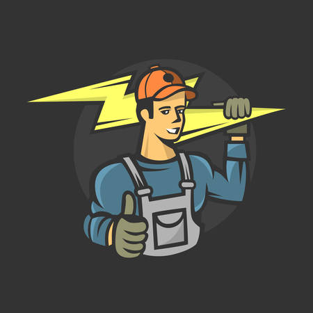 Electrician services, vector illustration.