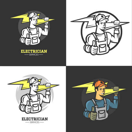 Mascot icon illustration of bust of a power lineman or electrician holding a thunderbolt or lightning bolt viewed. 矢量图像