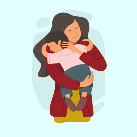 Mother embracing little son and expressing love and care. Vector illustration.