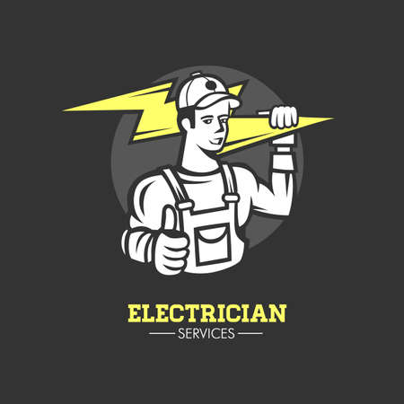 Mascot icon illustration of bust of a power lineman or electrician holding a thunderbolt or lightning bolt viewed. Ilustrace